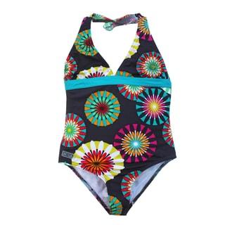 Azul Swimwear Girl's 'Pinwheels' Halter One-piece Swimsuit