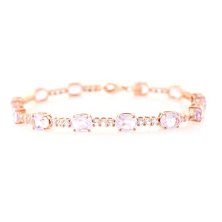 14K Rose Gold Polish over Sterling Silver Pink Amethyst and White Topaz Bracelet