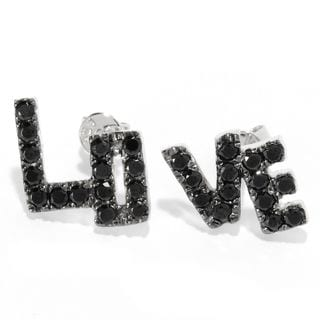 "Platinum over Silver Black Spinel ""Love"" Stud Earrings"