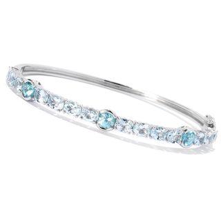 Sterling Silver Aquamarine Blue Zircon Bangle Bracelet