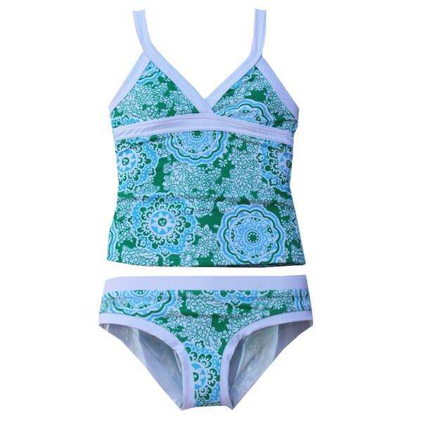Azul Swimwear Girl's 'Juliana' Green/ White Tankini Swimsuit