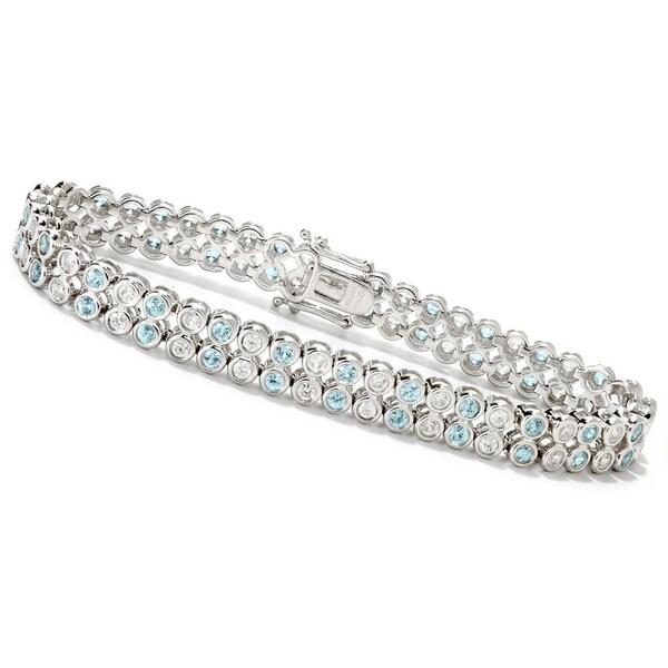 Sterling Silver Bezel Set Blue and White Zircon Tennis Bracelet