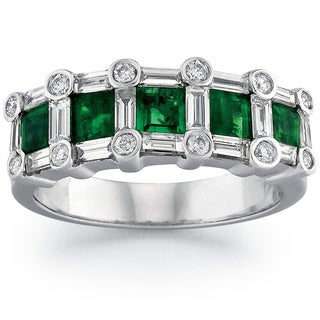 14k White Gold 3/4ct TDW White Diamond Emerald Ring (G-H, SI1-SI2)