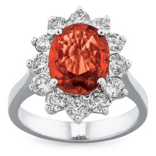 18k White Gold Orange Sapphire Diamond Ring