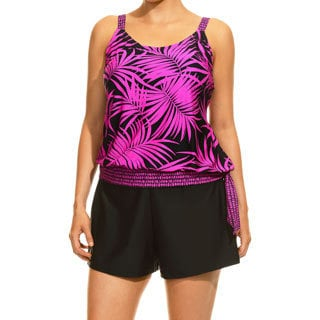 Women's Royal Palms Black and Pink Tankini Top and Bottom