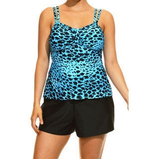 Women's Cheetah Swirl Blue and Black Tankini Top and Bottom