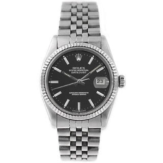 Pre-Owned Rolex Men's Datejust 16014 Stainless Steel Black Stick Watch