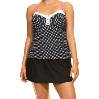Women's Ocean Dot Black and White Tankini Top and Bottom