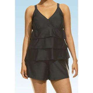 Women's Paradise Solids Black Tiered Tankini Top and Bottom