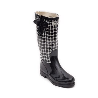 Women's Black Checker Design Rubber Rain Boots