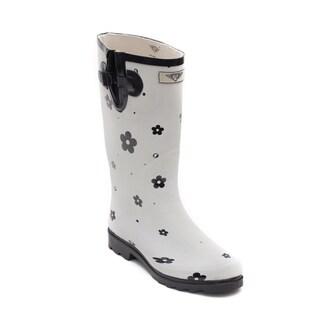 Women's Flower Matte Rubber Rain Boots
