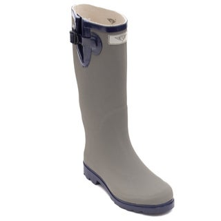 Women's Grey Matte Rubber Rain Boots