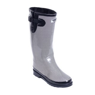 Women's Checkered Faux Fur Lined Rain Boots