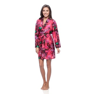 Aegean Apparel Women's Abstract Paint Printed Tricot Robe