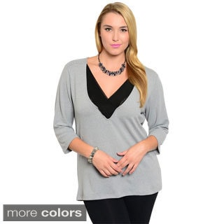 Stanzino Women's Plus Size Studded 3/4-length Sleeve Top