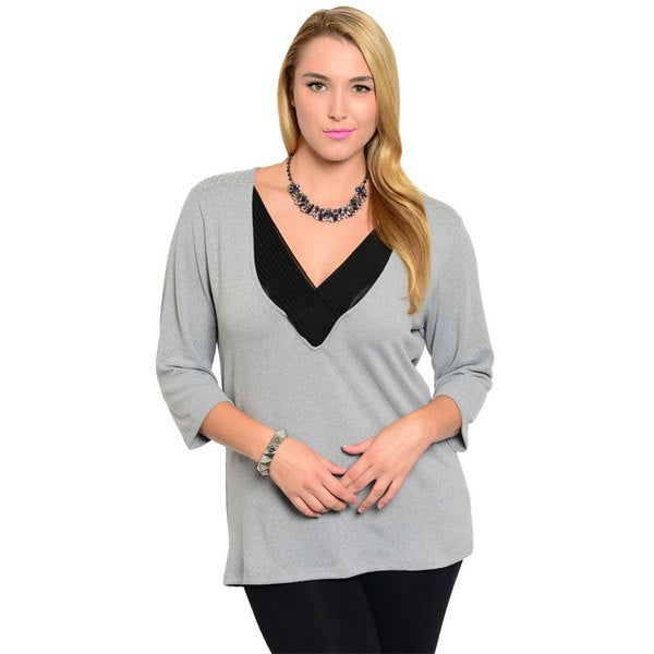 Stanzino Women's Plus Size Studded 3/4-length Sleeve Top