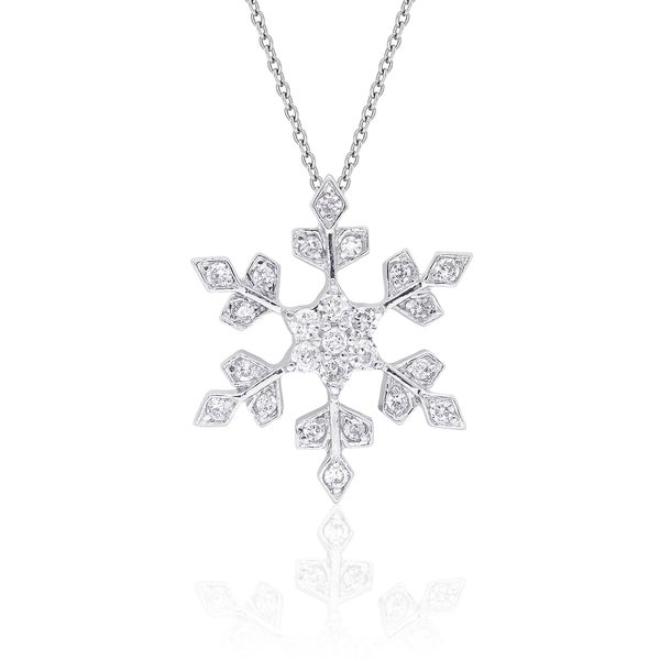 Dolce Giavonna Sterling Silver Cubic Zirconia Snowflake Design Necklace with Red Bow Gift Box