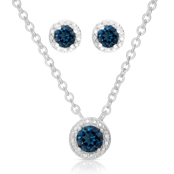 Dolce Giavonna Sterling Silver London Blue Topaz Necklace and Earrings Set with Red Bow Gift Box
