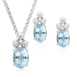 Dolce Giavonna Sterling Silver Diamond Accent and Gemstone Necklace and Earrings Set