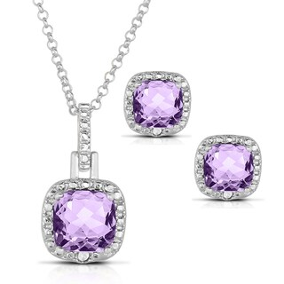 Dolce Giavonna Silver Overlay Gemstone Necklace and Earrings Set wth Gift Box