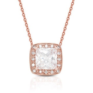 Dolce Giavonna Rose Gold Overlay Cubic Zirconia Necklace and Earrings Jewelry Set with Red Bow Gift Box