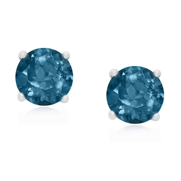 Dolce Giavonna Sterling Silver London Blue Topaz Stud Earrings (with a Red Bow Gift Box)
