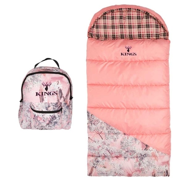 King's Hunter Series Junior 25-degree F Pink Shadow Camo Youth Sleeping Bag