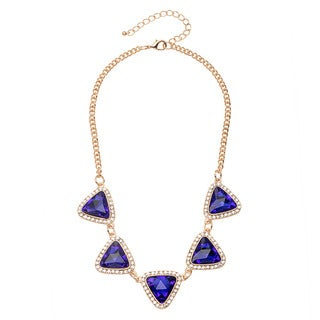 Alexa Starr Multi-framed Triangle Crystal Front Piece Necklace