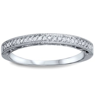 Bliss 10k White Gold 1/10ct TDW Diamond Wedding Ring with Open Gallery Details (I-J, I2-I3)