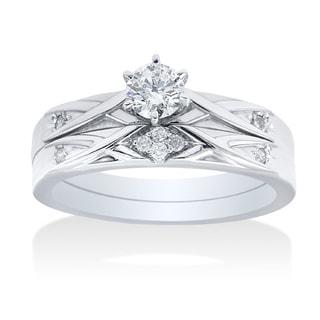 14k White Gold 0.35ct TDW Simple Modern Diamond Bridal Set (I-J, I2-I3)