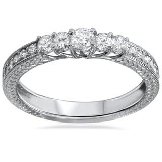 14k White Gold 1/2ct TDW Vintage Inspired Diamond Five Stone Anniversary Ring (I-J, I2-I3)