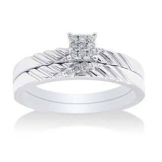 14k White Gold 0.25ct TDW Diamond Bridal Set (H-I, I2-I3)