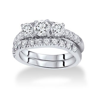 14k White Gold 1.5ct TDW Three-stone Diamond Bridal Set (I/J, I1-I2)