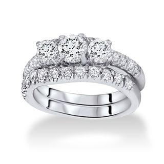 Bliss 14k White Gold 1.5ct TDW Three-stone Diamond Bridal Set (I/J, I1-I2)