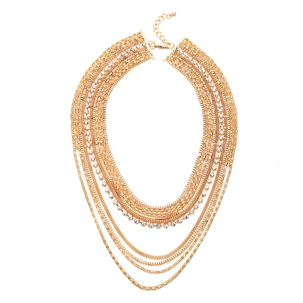 Alexa Starr Gold and Crystal Statement Necklace