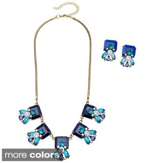 Alexa Starr Floral Square Bib Necklace and Earrings Jewelry Set