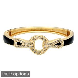 Alexa Starr Goldtone and Black Crystal Hinge Bracelet