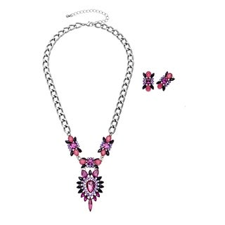 Alexa Starr Navette Flower Front Pendant Necklace and Earrings Jewelry Set