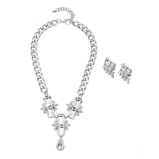Alexa Starr Silvertone Crystal Pendant Necklace and Earrings Set
