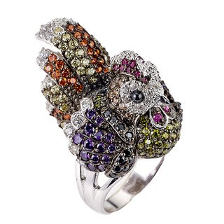 Soho Boutique by Neda Behnam Sterling Silver and Cubic Zirconia Rooster Cocktail Ring