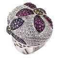 Soho Boutique by Neda Behnam Sterling Silver Cubic Zirconia Flower Cocktail Ring