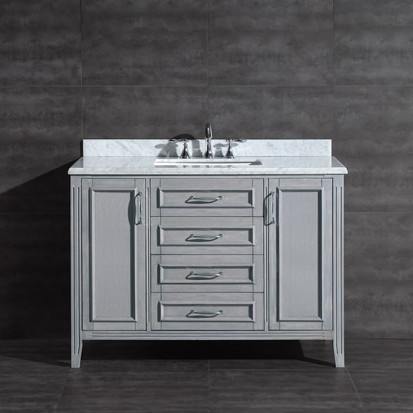 Ove Decors Daniel 48-inch Grey Vanity with Carrera Marble Vanity Top