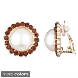 Faux Pearl Gold Button Clip-on Earrings