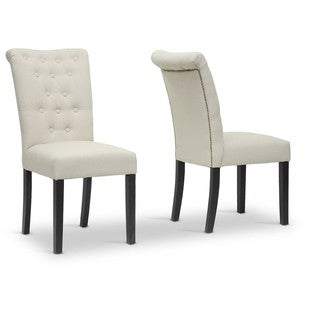 Baxton Studio Oxnard Beige Velveteen Modern Dining Chairs (Set of 2)
