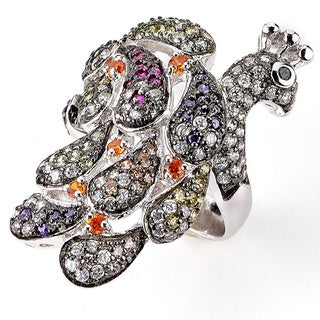 Soho Boutique by Neda Behnam Sterling Silver Cubic Zirconia Peacock Ring