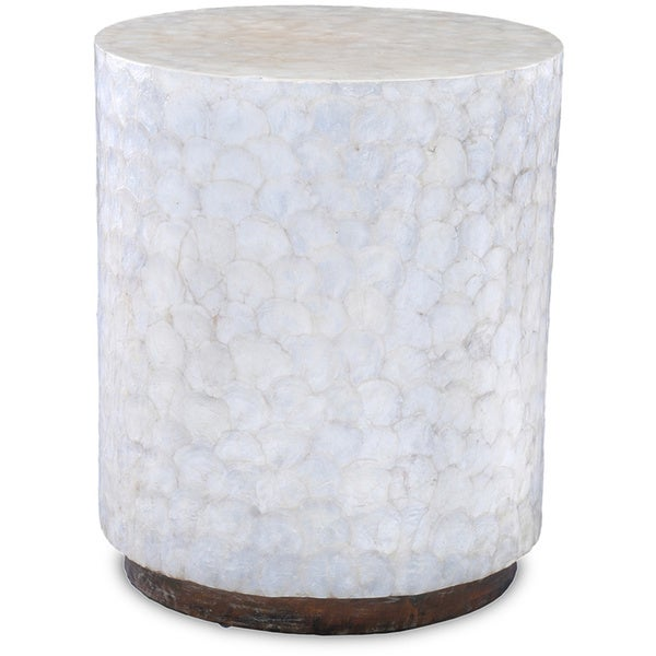 Decorative off white elegant sleek round end table for Off white round table