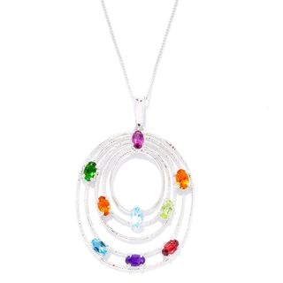 Sterling Silver Platinum Multi-gemstone Tiered Oval Pendant Necklace
