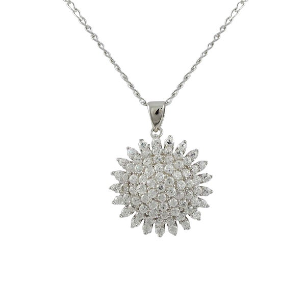 Luxiro Sterling Silver White CZ Starburst Necklace