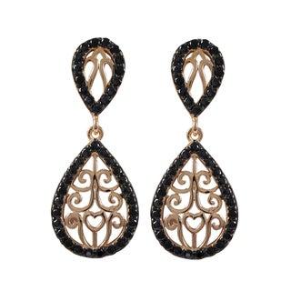 Sterling Silver Cubic Zirconia Filigree Teardrop Dangle Earrings