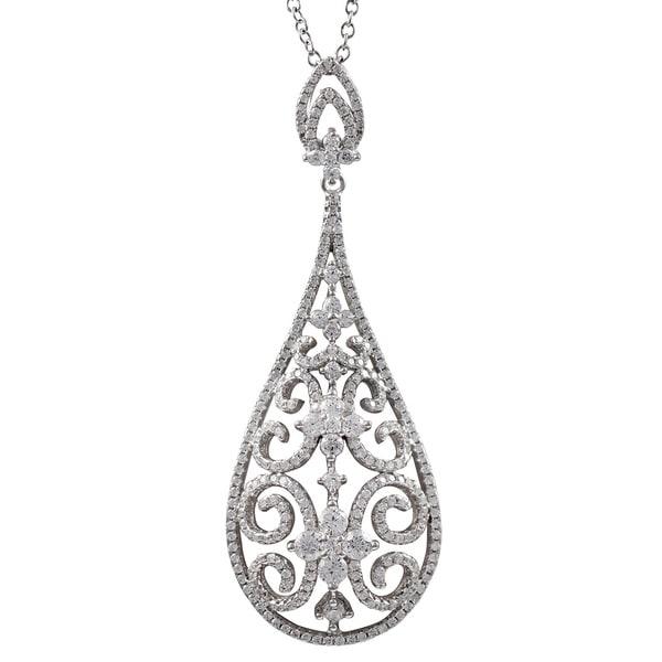 Luxiro Sterling Silver CZ Filigree Teardrop Necklace